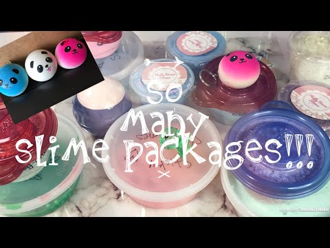 Unboxing a bunch of SLIME TRADE PACKAGES (part 2)Mila, Camille etc ~slimeypandazzz