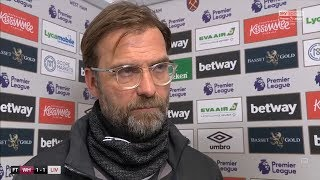 Jurgen Klopp frustrated with Liverpool's 1-1 draw against West Ham