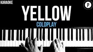 Coldplay - Yellow Karaoke SLOWER Acoustic Piano Instrumental Cover Lyrics