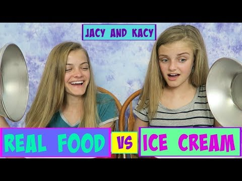Real Food vs Ice Cream Challenge ~ Jacy and Kacy