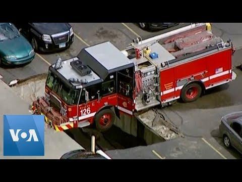 Chicago Firetruck Stuck Following Garage Collapse