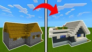 Minecraft Tutorial: How To Transform a Village House Into A Modern House