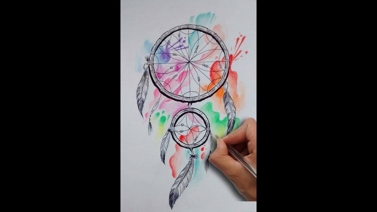 021f1b5e3f609 Diseño Atrapasueños Acuarela   Acuarelle Dreamcatcher Tattoo Design- Nosfe  Ink Tattoo