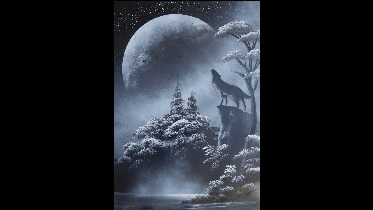 Spray paint art - Howling wolf - made by street artist *time lapse*