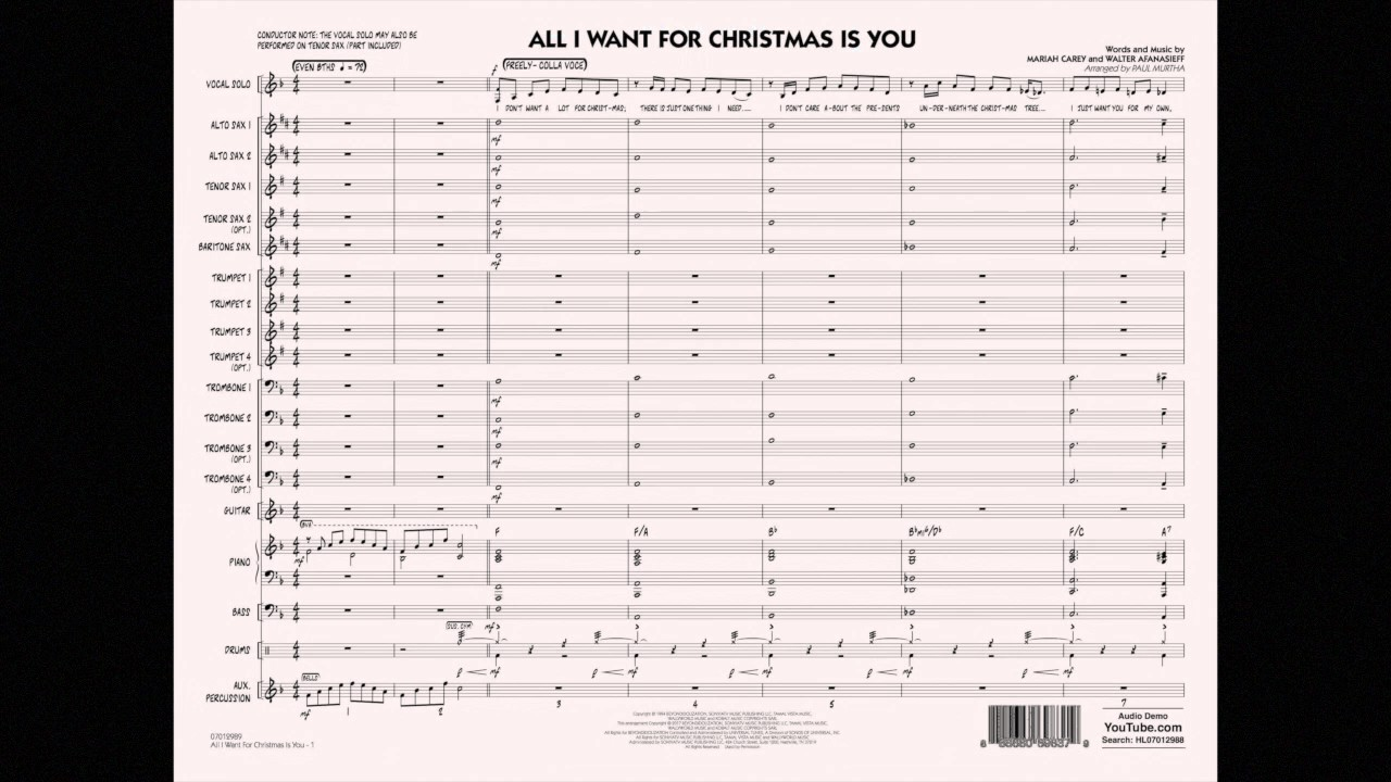All I Want for Christmas Is You arranged by Paul Murtha - YouTube
