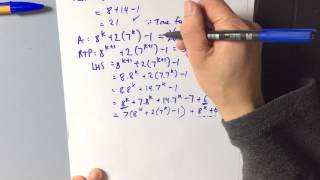 Induction: Divisibility Proof example 5 (8^n+2(7^n)-1 has a factor of 7)