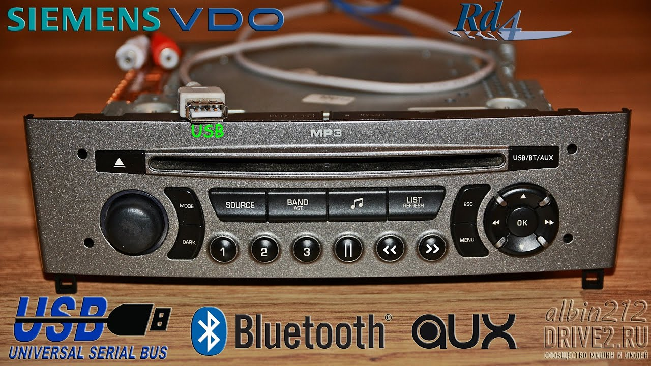 Siemens VDO RD4 - USB, AUX, Bluetooth (A2DP) - YouTube