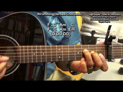 How To Play HIGH HOPES Panic! At The Disco On Guitar Beginners EricBlackmonGuitar HQ