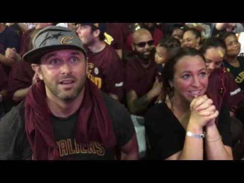 Cavaliers fans celebrate outside Quicken Loans Arena after the NBA Finals
