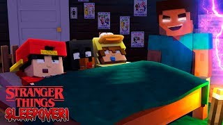 Minecraft STRANGER THINGS - EVIL HEROBRINE COMES TO SLEEPOVER WITH THE BABIES!!
