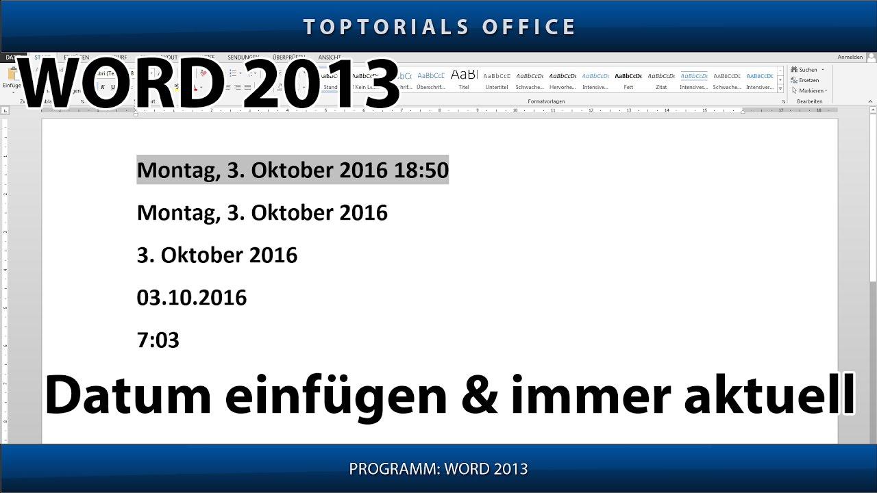 Datum Einfügen Automatisch Aktualisieren Microsoft Word Youtube