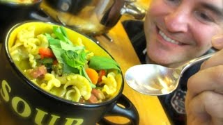 Pancetta & Pasta Soup: Pesto-enriched Broth