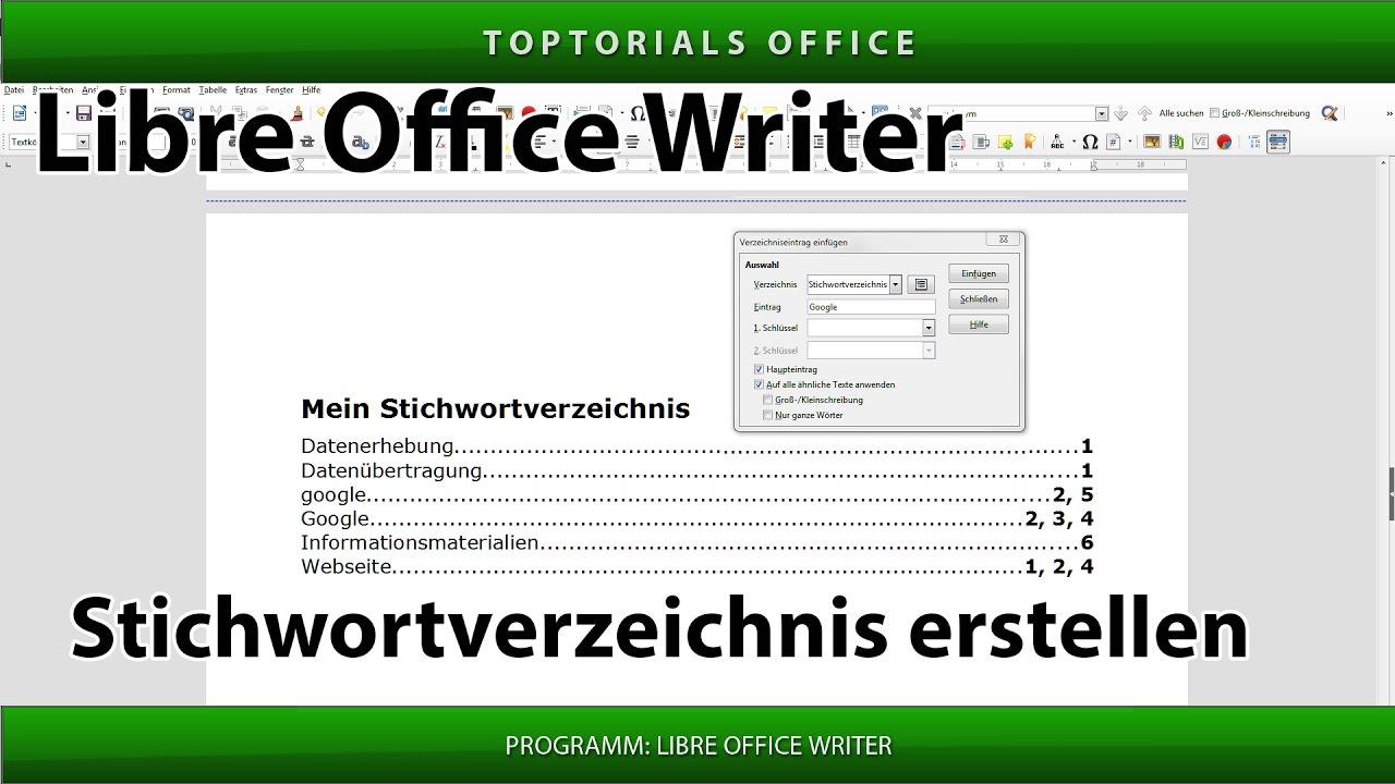 Stichwortverzeichnis Index Erstellen Ganz Einfach Libre Office