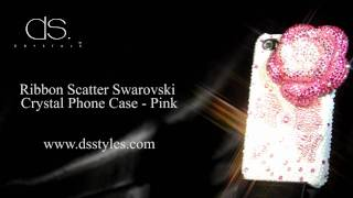 DSstyles Floral Ribbon 3D Swarovski Crystal iPhone 4 4S Case - Pink Thumbnail