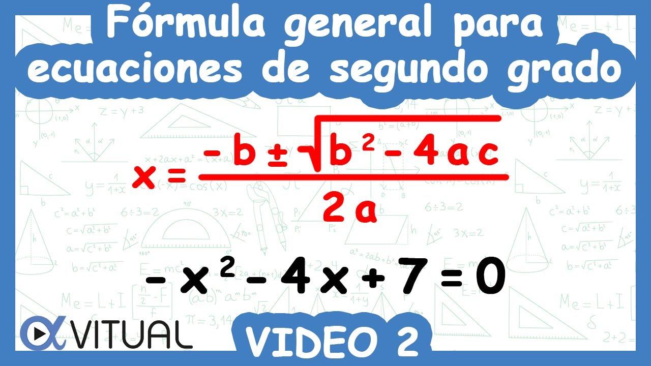 F U00f3rmula General Para Ecuaciones De Segundo Grado Ejemplo 2