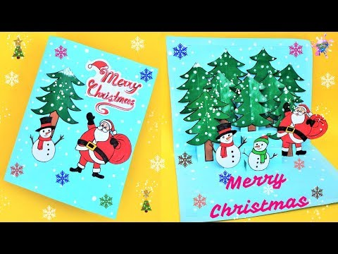 DIY 3D Christmas Pop Up Card/ How to make Christmas Greetings Card/ Easy Paper Craft