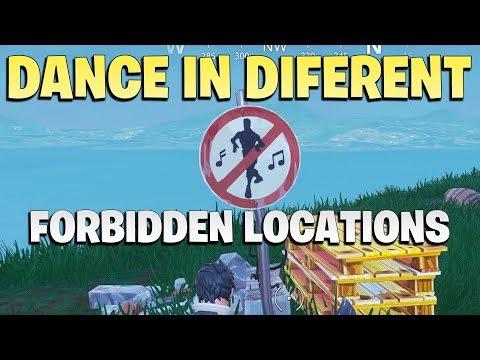 Dance In Different Forbidden Locations - All Locations Fortnite Season 7