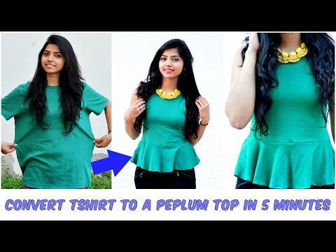 Convert An Old Tshirt Into Cute Peplum Top In Minutes