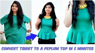 Repeat youtube video Convert An Old Tshirt Into A Cute Peplum Top in 5 Minutes