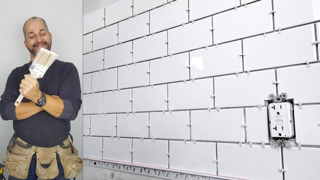 How to Install a Subway Tile Back splash - YouTube