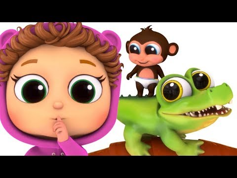 Five Little Monkeys and a Crocodile | Nursery Rhymes |Learn Numbers | Kids Songs