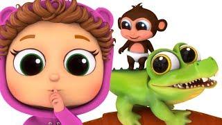 Five Little Monkeys and a Crocodile   Nursery Rhymes  Learn Numbers   Kids Songs