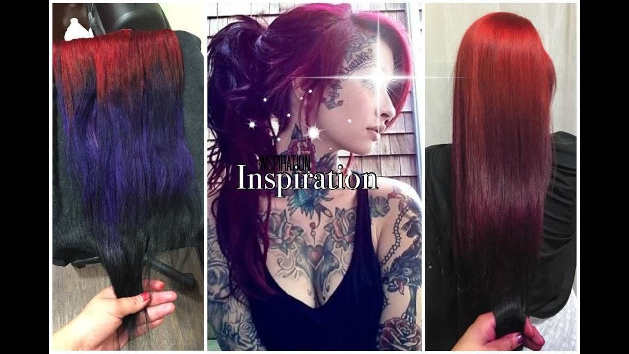 Picture of black and magenta balayage hair - 3 Tone Ombre Balayage Mermaid Hair Tutorial