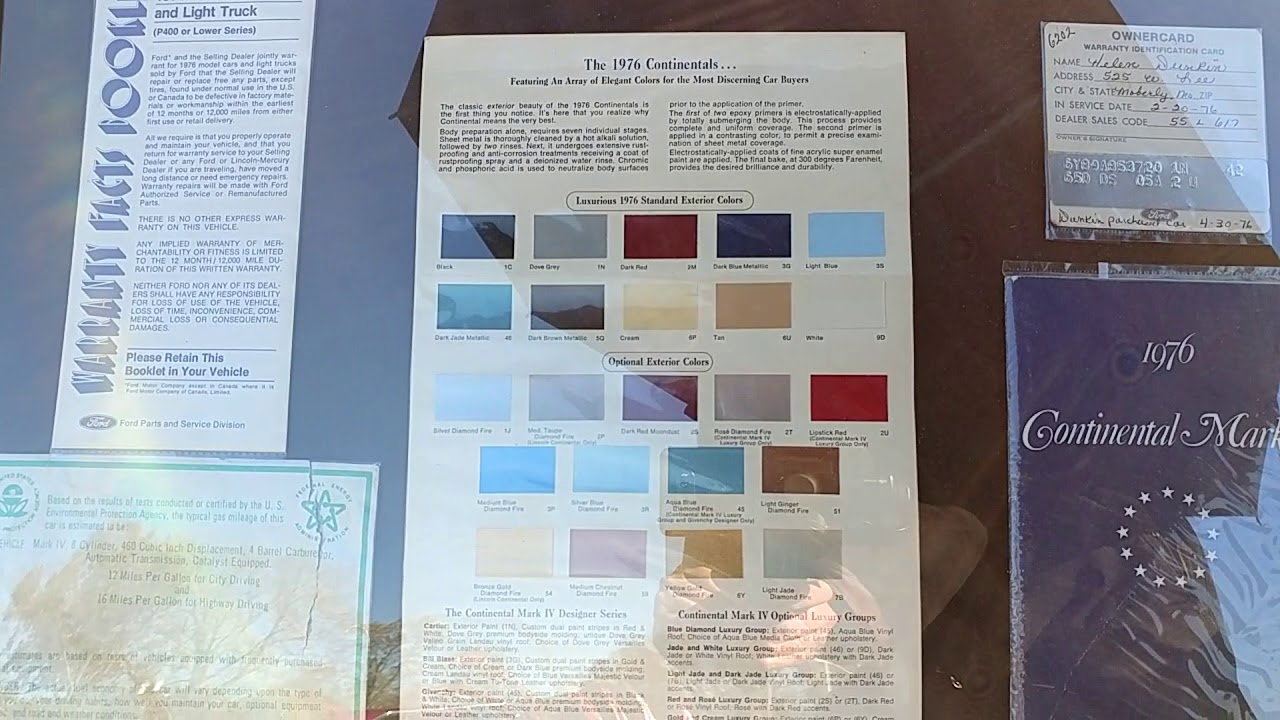 The 1976 Lincoln Continental Paint Color Chart Youtube 1978 Cadillac Deville Colors
