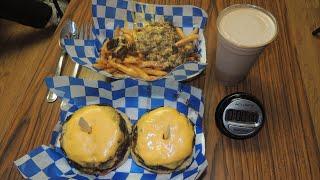 Burger Shack's 48oz Cheeseburger Challenge Record w/ Milkshake CHUG!!