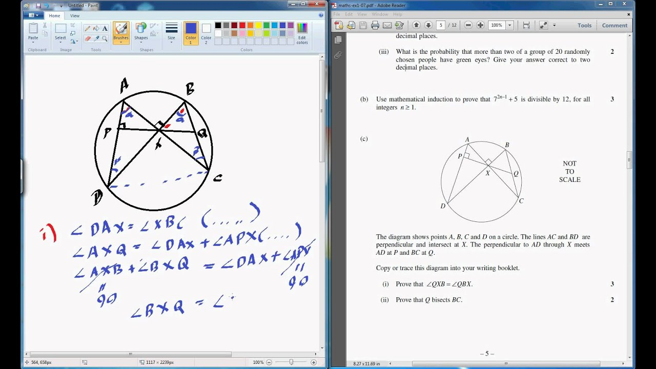 mathematics extension 1 hsc 2007 q4 part 3 circle geometry mathematics extension 1 hsc 2007 q4 part 3 circle geometry