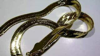 """$55 LADIES Lab Made 20"""" GOLD Herringbone flat chain/necklace! Old school hip-hop jewelry!!"""