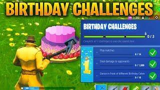 FORTNITE BIRTHDAY CHALLENGES - FORTNITE'S 1ST BIRTHDAY CELEBRATION AND BIRTHDAY CAKE LOCATIONS