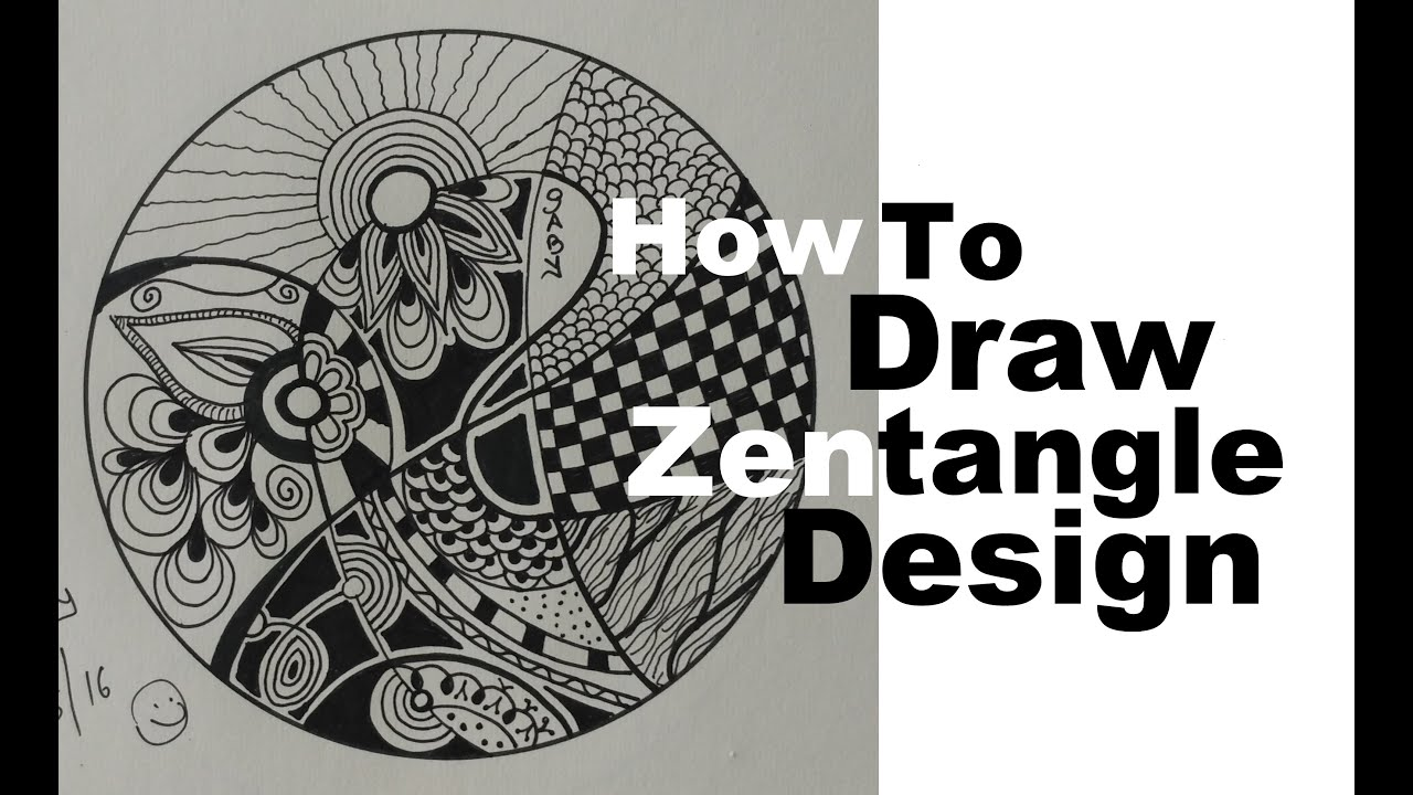 How to draw complex zentangle art design for beginners for Drawing patterns for beginners