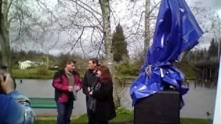 Kurt Cobain Memorial Sculpture Unveiled in Aberdeen, WA 4-5-11