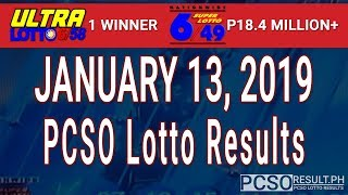 PCSO Lotto Results Today January 13, 2019 (6/58, 6/49, Swertres, STL & EZ2)