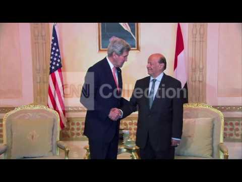SAUDI ARABIA: KERRY AND YEMEN PRES SHAKING HANDS