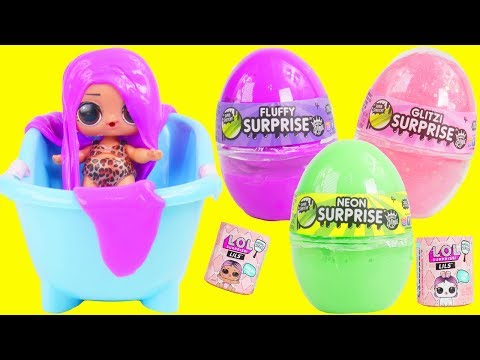 LOL Surprise Glitter Slime Doll Prank with Fluffy Egg Belly | Toy Egg Videos