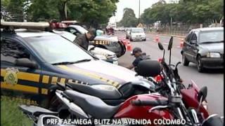 PRF FAZ MEGA BLITZ NA AVENIDA COLOMBO   BALANÇO GERAL 27 01 12