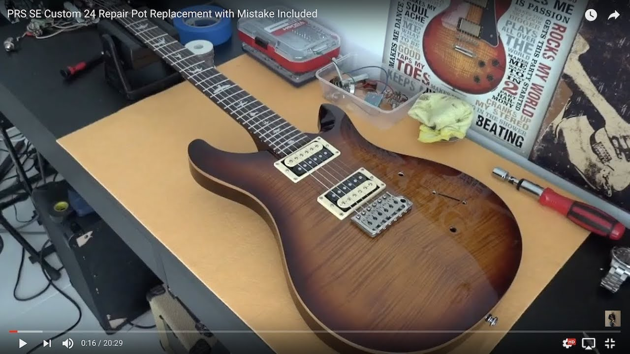 prs se custom 24 wiring schematic prs se custom 24 repair pot replacement with mistake included  prs se custom 24 repair pot replacement