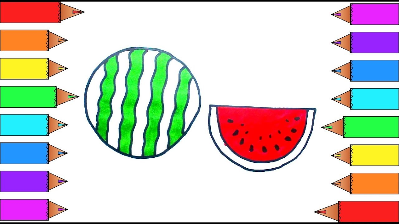 watermelon coloring pages art colors for kids draw rainbow