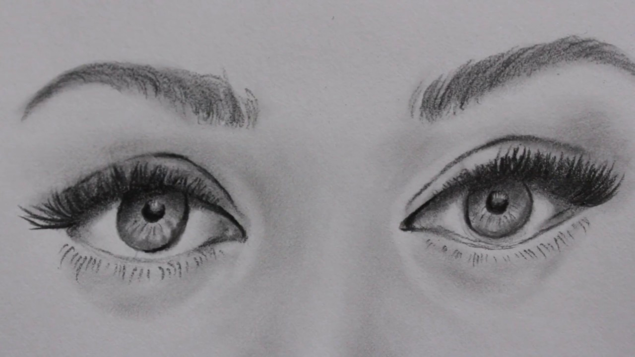 Realistic eye drawingblendingshading tutorial timelapse pencilsketch of a gorgeous girl