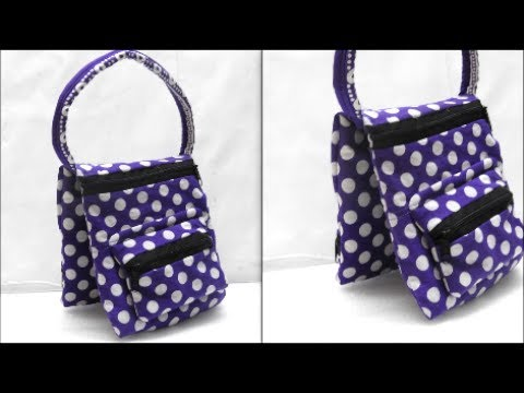 How to make fabric handmade bag with extra pouch - Tutorial