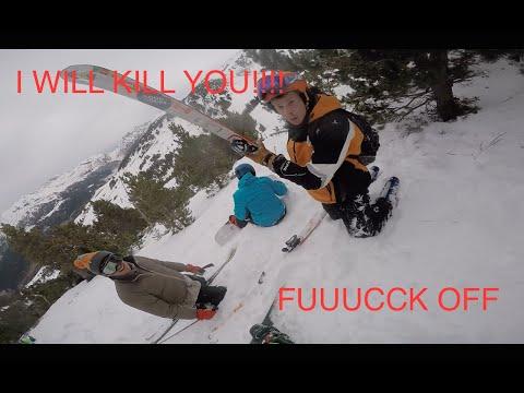 SNOWBOARDER VS SKIIER (HD) GOPRO