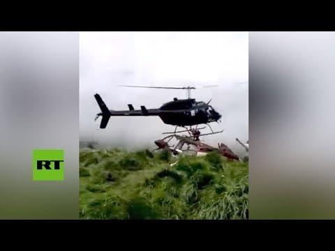 RT en Español: Aparatoso accidente de helicóptero durante una operación de rescate en Colombia