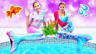 Polen deniz kızına dönüşüyor! Havuz oyunları. Eğlenceli kız çocuk videoları