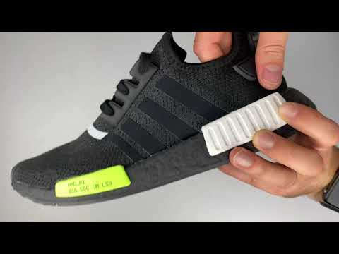 Adidas Nmd R1 Core Black Signal Green Unboxing On Feet