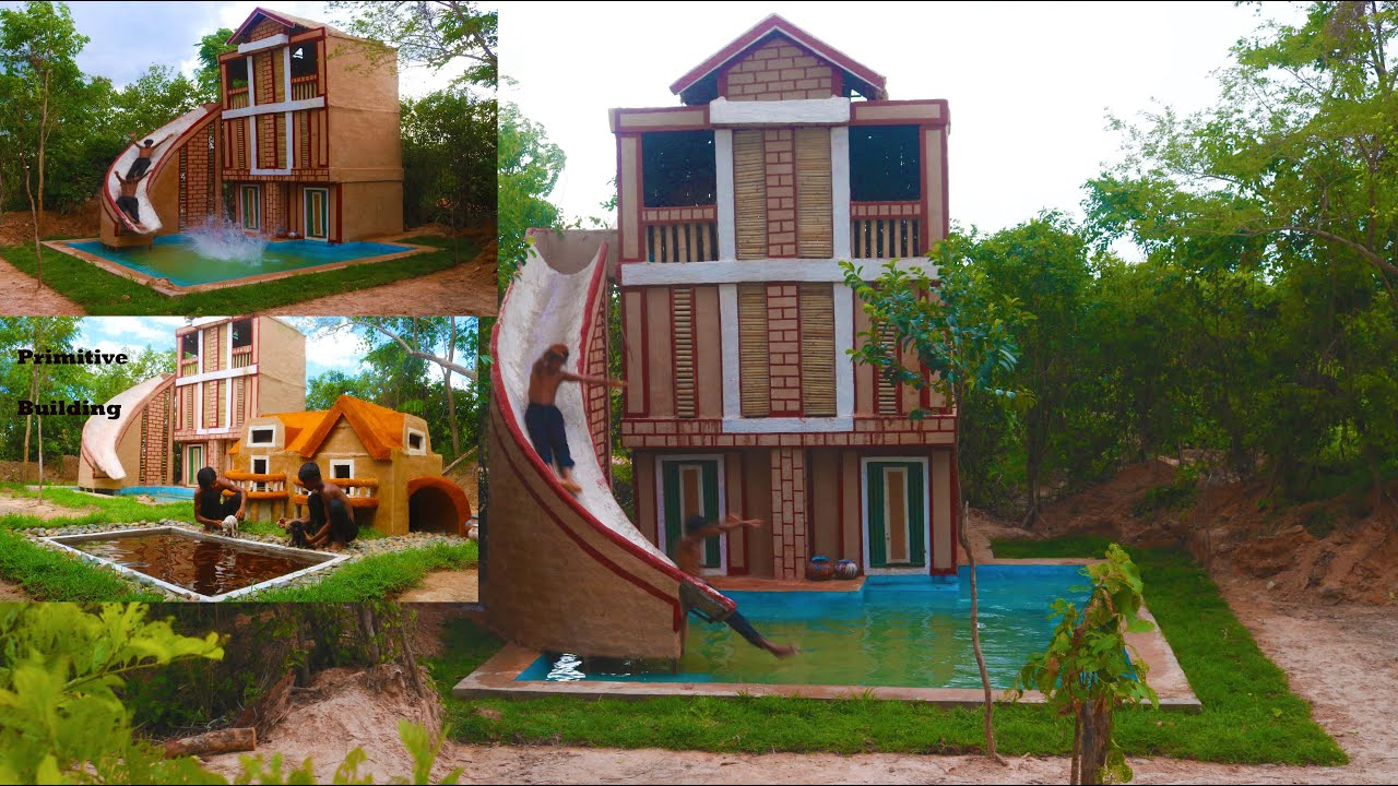 Build The Most Three Story Villa House,Water Slide ,Collect Abandoned Puppy & Build Mud House (Full)