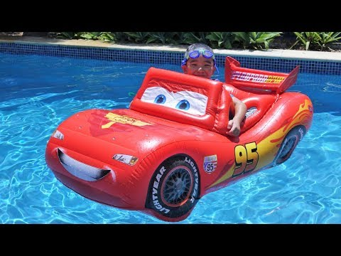 Pool Fun Time With A Giant Inflatable Disney Cars Lightning McQueen Ckn Toys