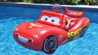 Pool Fun Time With A Giant Inflatable Disney Cars Lightning McQueen Ckn Toys thumbnail