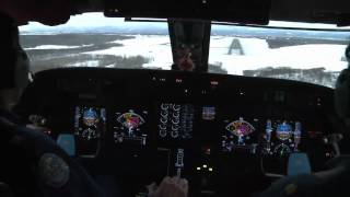 NOAA Hurricane Hunters Gulfstream G4 Landing at Anchorage, Alaska - Cockpit Video